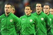 10 October 2009; Republic of Ireland goalkeeper Shay Given stands with his team-mates during the National Anthem. 2010 FIFA World Cup Qualifier, Republic of Ireland v Italy, Croke Park, Dublin. Picture credit: Brendan Moran / SPORTSFILE