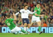 10 October 2009; Andrea Pirlo, Italy, is tackled by Glenn Whelan, Republic of Ireland. 2010 FIFA World Cup Qualifier, Republic of Ireland v Italy, Croke Park, Dublin. Picture credit: Brendan Moran / SPORTSFILE