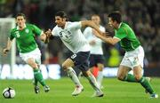 10 October 2009; Vincenzo Iaquinta, Italy, in action against Keith Andrews, left, and Sean St. Ledger, Republic of Ireland. 2010 FIFA World Cup Qualifier, Republic of Ireland v Italy, Croke Park, Dublin. Picture credit: Brendan Moran / SPORTSFILE