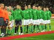 10 October 2009; The Republic of Ireland team stand for the National Anthem before the game. 2010 FIFA World Cup Qualifier, Republic of Ireland v Italy, Croke Park, Dublin. Picture credit: Brendan Moran / SPORTSFILE
