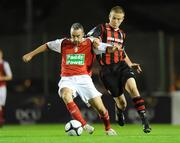 20 October 2009; Gary Dempsey, St Patrick's Athletic, in action against Paddy Madden, Bohemians. League of Ireland Premier Division, Bohemians v St Patrick's Athletic, Dalymount Park, Dublin. Picture credit: Paul Mohan / SPORTSFILE