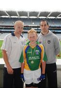 28 September 2009; 288 children from all over the country togged out today in the world-famous Croke Park stadium to attend the Vhi GAA Cúl Day Out. The 288 children were the lucky winners in the competition which was open to 82,500 children who attended a Vhi GAA Cúl Camp during the summer. Pictured after receiving his medal is Oisin MacSalaigh, Strabane, Co. Tyrone, with Vhi GAA Cúl Camps Ambassadors Padraig Berry, Longford footballer, and Aaron Kiernan, Armagh footballer, right. Croke Park, Dublin. Picture credit: Stephen McCarthy / SPORTSFILE