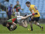 17 January 2016; Padraig O'Hora, Mayo, in action against Fintan Cregg, Roscommon. FBD Connacht League Section A Round 3, Roscommon v Mayo. Elvery's MacHale Park, Castlebar, Co. Mayo. Picture credit: David Maher / SPORTSFILE