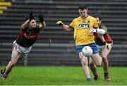 17 January 2016; Diarmuid Murtagh, Roscommon, in action against Padraig O'Hira, left, and Ger Cafferkey, Mayo. FBD Connacht League Section A Round 3, Roscommon v Mayo. Elvery's MacHale Park, Castlebar, Co. Mayo. Picture credit: David Maher / SPORTSFILE