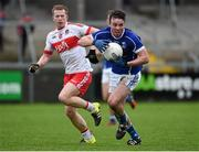 17 January 2016; Eugene Keating, Cavan, in action against Enda Lynn, Derry. Bank of Ireland Dr McKenna Cup, Semi-Final, Cavan v Derry. Athletic Grounds, Armagh. Picture credit: Philip Fitzpatrick / SPORTSFILE