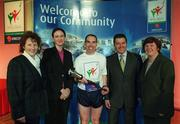 7 April 2003; Pictured at the launch of the Law Enforcement Torch Run Final Leg supported by eircom, from Kilcullen Host Town, Mary Shortt, Carol McMahon, eircom, and Michael Quinn Special Olympics athlete from the Law Enforcement Torch Run support team, George Hamilton, RTÉ and Philomena Griffen, Kilcullen Host Town. Picture credit; Ray McManus / SPORTSFILE
