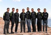 20 January 2016; Irish members of the An Post Chain Reaction Sean Kelly Team, from left, Jack Wilson, Daniel Stewart, Connor McConvey, Sean Kelly, Sean McKenna, Damian Shaw, David Montgomery and Angus Fyffe at the 2016 team launch in Calpe, Spain. Picture credit: Paul Mohan / SPORTSFILE