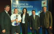 7 April 2003; Pictured at the launch of the Law Enforcement Torch Run Final Leg supported by eircom, Conal McGettigan, Sligo Host Town, Robert Jordan, Special Olympics athlete from the Law Enforcement Torch Run support team, Teresa Murray, eircom, George Hamilton, RTÉ, and Joe Geary, Manorhamilton Host Town. Picture credit; Pat Murphy / SPORTSFILE