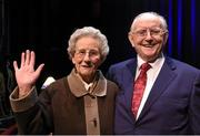 21 January 2016. Jimmy Magee with Mrs. Margaret Higgins, wife of the late Mick Higgins, who won All Ireland medals with Cavan in 1947, '48 and '52, at Jimmy Magee's  'Around the World in 80 Years'. Ramor Theatre, Virginia, Co. Cavan. Picture credit: Ray McManus / SPORTSFILE
