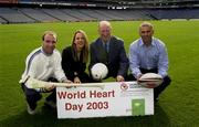19 September 2003; Three legends of Irish sport, DJ Carey, Tony Ward and Jack Charlton came together, in Croke Park, Dublin, for a Flora pro.active cholesterol awareness campaign to mark World Heart Day, which is Sunday 28 September 2003. Picture credit; Ray McManus / SPORTSFILE