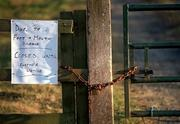 3 March 2001; A sign at Thurles Shooting Club in Tipperary, informing the public that it is closed until further notice as all sporting events in Ireland have been postponed as a precautionary measure against Foot and Mouth disease. Photo by Brendan Moran/Sportsfile