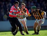 24 February 2001; Donal Og Cusack, Cork in action against JP Corcoran and Jimmy Coogan, Kilkenny. Cork v Kilkenny, Allianz, National Hurling League Division 1B, Pairc Ui Chaoimh, Cork. Picture credit; Ray McManus/SPORTSFILE