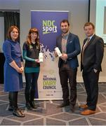 23 January 2016; As part of the GAA Games Development Conference (Saturday 23rd January), the National Dairy Council delivered a sports nutrition seminar presented by Dr Sharon Madigan, Head of Performance Nutrition, Irish Institute of Sport; and Dr Bryan Cullen, High Performance Manager for Dublin GAA and former Dublin footballer. This seminar addressed the many myths and mixed messages about nutrition that can influence players, as well as highlighting exciting research exploring specific benefits that milk may play in a number of aspects of recovery nutrition - namely potential roles in rehydration and muscle recovery. Pictured, from left, are Dr Sharon Madigan, Head of Performance Nutrition, Irish Institute of Sport, Caroline O'Donovan, Nutritionist, The National Dairy Council, Dr Bryan Cullen, High Performance Manager for Dublin GAA, and Peter Horgan, Education Officer, Croke Park. Croke Park, Dublin. Picture credit: Piaras Ó Mídheach / SPORTSFILE