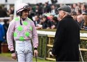 24 January 2016; Jockey Ruby Walsh speaks with father Ted ahead of riding Faugheen to victory in the BHP Insurances Irish Champion Hurdle. Leopardstown Racecourse, Leopardstown, Co. Dublin. Picture credit: Ramsey Cardy / SPORTSFILE