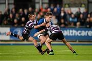 24 January 2016; Niall Curran, St Mary's College, is tackled by Mark Kirwan, left, and Christian Collins, Terenure College. Bank of Ireland Leinster Schools Senior Cup, 1st Round, St Mary's College v Terenure College, Donnybrook Stadium, Donnybrook, Dublin. Picture credit: Dáire Brennan / SPORTSFILE