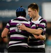 24 January 2016; Christian Collins, right, and Seán Collins, Terenure College, celebrate at the final whistle. Bank of Ireland Leinster Schools Senior Cup, 1st Round, St Mary's College v Terenure College, Donnybrook Stadium, Donnybrook, Dublin. Picture credit: Dáire Brennan / SPORTSFILE