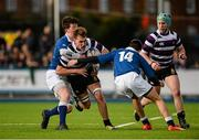 24 January 2016; Jeff Clarkin, Terenure College, is tackled by David Boyle, left, and Peter Fitzgerald, St Mary's College. Bank of Ireland Leinster Schools Senior Cup, 1st Round, St Mary's College v Terenure College, Donnybrook Stadium, Donnybrook, Dublin. Picture credit: Dáire Brennan / SPORTSFILE