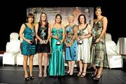 7 November 2009; Kilkenny players, from left, Jacqui Frisby, Anne Dalton, Katie Power, Aoife Neary and Elaine Aylward with their Camogie All-Star awards and Joan O'Flynn, President of the Camogie Association. 2009 Camogie All-Stars Awards, in association with O'Neills. Citywest Hotel, Conference, Leisure & Golf Resort, Dublin. Picture credit: Pat Murphy / SPORTSFILE
