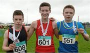 24 January 2016; Boy's under 15 2500m medallists, from left, silver medallist Liam McCann, Swinford AC, Co. Mayo, gold medallist Cormac Canning, Drogheda & District AC, Co. Louth, and bronze medallist Jack Hickey, Moyne AC, Co. Tipperary. The GloHealth National Master, Intermediate, Juvenile B & Juvenile Inter County Relay. Dundalk IT, Dundalk, Co. Louth. Picture credit: Tomás Greally / SPORTSFILE
