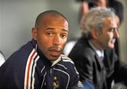 13 November 2009; French captain Thierry Henry, with manager Raymond Domenech during a press conference ahead of their FIFA 2010 World Cup Qualifying Play-Off 1st leg match against Ireland on Saturday. Radisson Hotel, Dublin Airport, Dublin. Picture credit: David Maher / SPORTSFILE