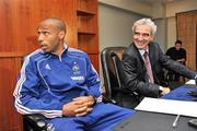 13 November 2009; France manager Raymond Domenech  with captain Thierry Henry during a press conference ahead of their FIFA 2010 World Cup Qualifying Play-Off 1st leg match against Ireland on Saturday. Radisson Hotel, Dublin Airport, Dublin. Picture credit: David Maher / SPORTSFILE