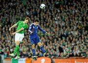 14 November 2009; Kevin Kilbane, Republic of Ireland, in action against Yoann Gourcuff, France. FIFA 2010 World Cup Qualifying Play-off 1st Leg, Republic of Ireland v France, Croke Park, Dublin. Picture credit: Paul Mohan / SPORTSFILE