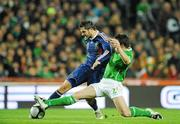 14 November 2009; Sean St. Ledger, Republic of Ireland, in action against Andre-Pierre Gignac, France. FIFA 2010 World Cup Qualifying Play-off 1st Leg, Republic of Ireland v France, Croke Park, Dublin. Picture credit: Matt Browne / SPORTSFILE