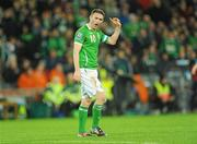 14 November 2009; Robbie Keane, Republic of Ireland, reacts to a decision by the referee during the second half. FIFA 2010 World Cup Qualifying Play-off 1st Leg, Republic of Ireland v France, Croke Park, Dublin. Picture credit: Stephen McCarthy / SPORTSFILE
