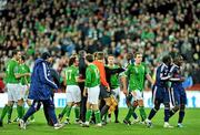 14 November 2009; Players from both, the Republic of Ireland and France confront each other at the end of the game. FIFA 2010 World Cup Qualifying Play-off 1st Leg, Republic of Ireland v France, Croke Park, Dublin. Picture credit: David Maher / SPORTSFILE