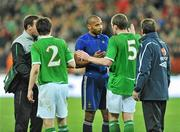 14 November 2009; Thierry Henry, France, and Richard Dunne, Republic of Ireland at the end of the game. FIFA 2010 World Cup Qualifying Play-off 1st Leg, Republic of Ireland v France, Croke Park, Dublin. Picture credit: David Maher / SPORTSFILE