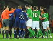 14 November 2009; Republic of Ireland and France players following the final whistle. FIFA 2010 World Cup Qualifying Play-off 1st Leg, Republic of Ireland v France, Croke Park, Dublin. Picture credit: Stephen McCarthy / SPORTSFILE