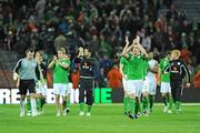 14 November 2009; The Republic of Ireland team salute the fans at the end of the game. FIFA 2010 World Cup Qualifying Play-off 1st Leg, Republic of Ireland v France, Croke Park, Dublin. Picture credit: Paul Mohan / SPORTSFILE