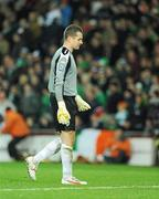 14 November 2009; A dejected Shay Given, Republic of Ireland, at the end of the game. FIFA 2010 World Cup Qualifying Play-off 1st Leg, Republic of Ireland v France, Croke Park, Dublin. Picture credit: Paul Mohan / SPORTSFILE