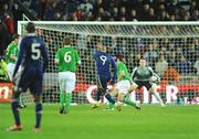 14 November 2009; Nicolas Anelka, France, shoots to score his side's first goal. FIFA 2010 World Cup Qualifying Play-off 1st Leg, Republic of Ireland v France, Croke Park, Dublin. Picture credit: Stephen McCarthy / SPORTSFILE