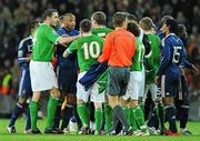 14 November 2009; A row breaks out between the players at the end of the game. FIFA 2010 World Cup Qualifying Play-off 1st Leg, Republic of Ireland v France, Croke Park, Dublin. Picture credit: Paul Mohan / SPORTSFILE