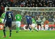 14 November 2009; Nicolas Anelka, France, scores his side's first goal. FIFA 2010 World Cup Qualifying Play-off 1st Leg, Republic of Ireland v France, Croke Park, Dublin. Picture credit: Stephen McCarthy / SPORTSFILE