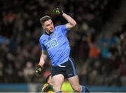 30 January 2016; Paddy Andrews, Dublin, celebrates after scoring a goal in the 42nd minute of the game. Allianz Football League, Division 1, Round 1, Dublin v Kerry, Croke Park, Dublin. Picture credit: Ray McManus / SPORTSFILE