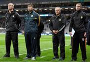 30 January 2016; Kerry manager Eamonn Fitzmaurice, second from left, with selectors, from left, Diarmuid Murphy, Mikey Sheehy and Padraig Corcoran. Allianz Football League, Division 1, Round 1, Dublin v Kerry. Croke Park, Dublin. Picture credit: Stephen McCarthy / SPORTSFILE