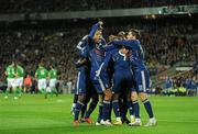 14 November 2009; Nicolas Anelka, France, celebrates with team-mates after scoring his side's first goal. FIFA 2010 World Cup Qualifying Play-off 1st Leg, Republic of Ireland v France, Croke Park, Dublin. Picture credit: Paul Mohan / SPORTSFILE