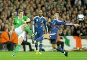 14 November 2009; Keith Andrews, Republic of Ireland, in action against Yoann Gourcuff, France. FIFA 2010 World Cup Qualifying Play-off 1st Leg, Republic of Ireland v France, Croke Park, Dublin. Picture credit: Stephen McCarthy / SPORTSFILE
