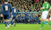 14 November 2009; France manager Raymond Domenech looks on during the game. FIFA 2010 World Cup Qualifying Play-off 1st Leg, Republic of Ireland v France, Croke Park, Dublin. Picture credit: Stephen McCarthy / SPORTSFILE