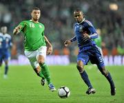 14 November 2009; Leon Best, Republic of Ireland, in action against Eirc Abidal, France. FIFA 2010 World Cup Qualifying Play-off 1st Leg, Republic of Ireland v France, Croke Park, Dublin. Picture credit: David Maher / SPORTSFILE