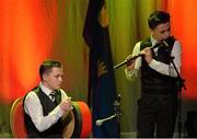 30 January 2016; The Easkey team of, Sinéad Harte, Aoife Collery, Éabha McGowan, Andrew Kilcullen and Owen Roe McGowan, representing Sligo and Connacht, in the Ceol Uirlise competition. Scór na nÓg. INEC, Gleneagle Hotel, Killarney, Co. Kerry. Picture credit: Piaras Ó Mídheach / SPORTSFILE