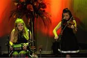 30 January 2016; The Easkey team of, Sinéad Harte, Aoife Collery, Éabha McGowan, Andrew Kilcullen and Owen Roe McGowan, representing Sligo and Connacht, in the Ceol Uirlise competition. Pictured are Éabha McGowan, left, and Sinéad Harte. Scór na nÓg. INEC, Gleneagle Hotel, Killarney, Co. Kerry. Picture credit: Piaras Ó Mídheach / SPORTSFILE