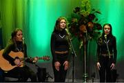 30 January 2016; The An Port Rua team of, Daron Creamer, Alanna Freeman, Emma Leo, Aisling Sheedy and Claire O'Brien, representing Tipperary and Munster, in the Bailéad Ghrúpa competition. Scór na nÓg. INEC, Gleneagle Hotel, Killarney, Co. Kerry. Picture credit: Piaras Ó Mídheach / SPORTSFILE