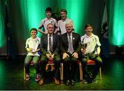 30 January 2016; Winners of the Tráth na gCeist, Spa GAA, Kerry, pictured back row, from left, Séamus Ó Loinsigh and Dónal Ó Súilleabháin. Front row, Micheál Ó hEathrín and Tomás Pléimeann with Antóin Mac Gabhann, Cathaoirleach Coiste Naisiúnta Scór, left, and Uachtarán Chumann Lúthchleas Gael Aogán Ó Fearghail. Scór na nÓg. INEC, Gleneagle Hotel, Killarney, Co. Kerry. Picture credit: Piaras Ó Mídheach / SPORTSFILE