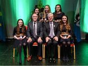 30 January 2016; Winners of the Bailéad Ghrúpa St Patrick's, Donaghmore, representing Tyrone and Ulster. Pictured are, back row, from left, Beth Murray, Ciara McCrystal and Niamh McCrystal. Front row, Aine McLouglin and Emer McCormack with Antóin Mac Gabhann, Cathaoirleach Coiste Naisiúnta Scór and Uachtarán Chumann Lúthchleas Gael Aogán Ó Fearghail. Scór na nÓg. INEC, Gleneagle Hotel, Killarney, Co. Kerry. Picture credit: Piaras Ó Mídheach / SPORTSFILE