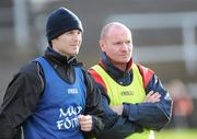 15 November 2009; Cookstown manager Chris Lawn, right, and his assistant, Declan O'Neill. AIB GAA Football Ulster Intermediate Club Championship Semi-Final, Monaghan Harps v Cookstown, Athletic Grounds, Armagh. Picture credit: Oliver McVeigh / SPORTSFILE