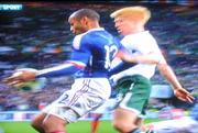 18 November 2009; A videograb of the handball by France's Thierry Henry which directly led to France's equalising goal on the night and put them into a 2-1 lead in extra-time. FIFA 2010 World Cup Qualifying Play-off 2nd Leg, Republic of Ireland v France, Stade de France, Saint Denis, Paris. Picture credit: RTE
