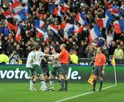 18 November 2009; Republic of Ireland players Keith Andrew, Shay Given and Sean St. Ledger remonstrate with referee Martin Hansson after William Gallas, France, scored his side's goal. FIFA 2010 World Cup Qualifying Play-off 2nd Leg, Republic of Ireland v France, Stade de France, Saint-Denis, Paris. Picture credit: David Maher / SPORTSFILE